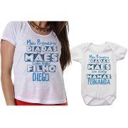 Camiseta e Body Personalizado Meu Primeiro Dia das Mães Com o Meu Filho