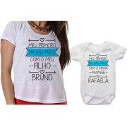Camiseta e Body Primeiro Dia das Mães Com Meu Filho Personalizado