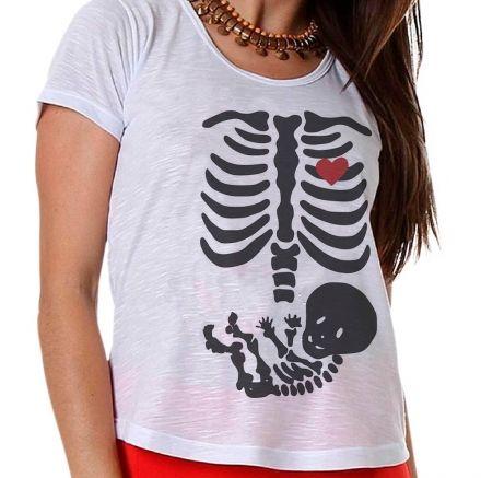 Camiseta Gestante Bebê Esqueleto