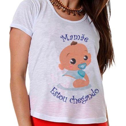 Camiseta Gestante Bebê Menino Mamãe Estou Chegando