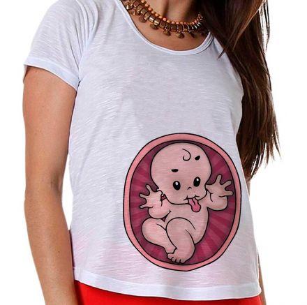 Camiseta Gestante Bebê na Barriga Gravidez