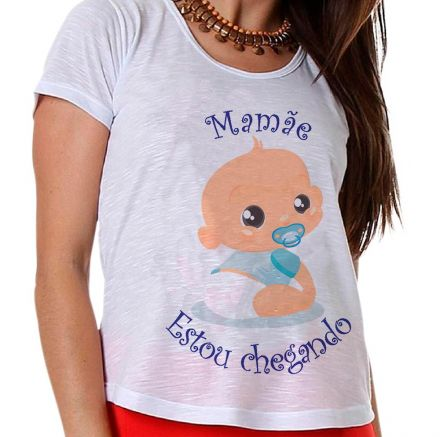 Camiseta Gestante Bebê na Barriga Menino Mamãe Estou Chegando