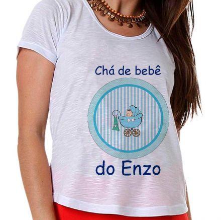 Camiseta Gestante Carrinho de Bebê Azul Menino