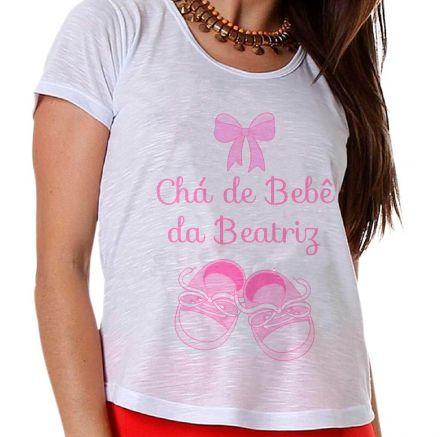 Camiseta Gestante Chá de Bebê de Menina Sapatinho e Lacinho Rosa