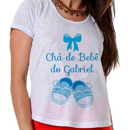 Camiseta Gestante Chá de Bebê de Menino Sapatinho e Lacinho Azul