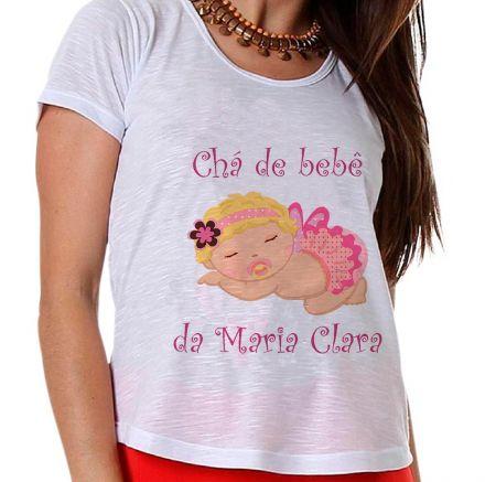 Camiseta Gestante Chá de Bebê Menina Bebê Dormindo