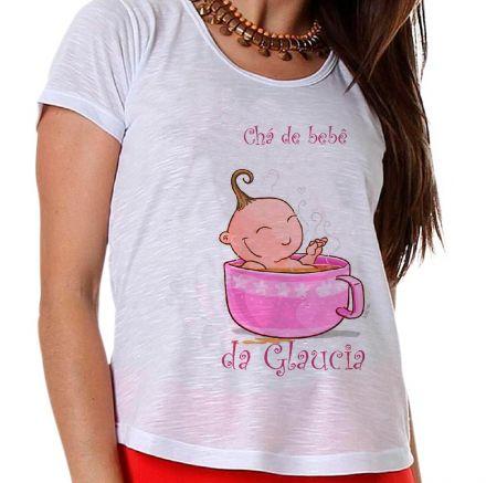 Camiseta Gestante Chá de Bebê Menina Bebê na Xícara Rosa
