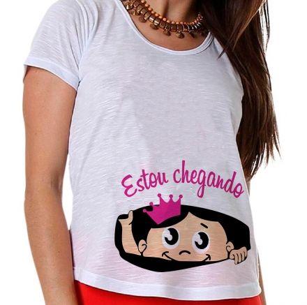 Camiseta Gestante Chá de Bebê Menina Estou Chegando Bebê na Barriga