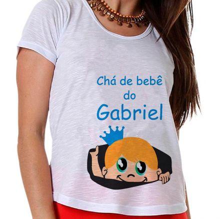 Camiseta Gestante Chá de Bebê Menino Estou Chegando Bebê na Barriga