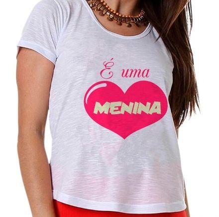 Camiseta Gestante É Uma Menina Coração