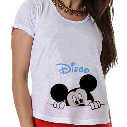 Camiseta Gestante Personalizada Mickey na Barriga