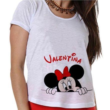 Camiseta Gestante Personalizada Minnie na Barriga