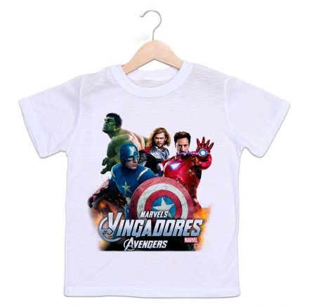 Camiseta Infantil Os Vingadores Super Heróis