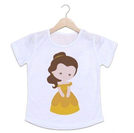 Camiseta Infantil Princesa Vestido Amarelo