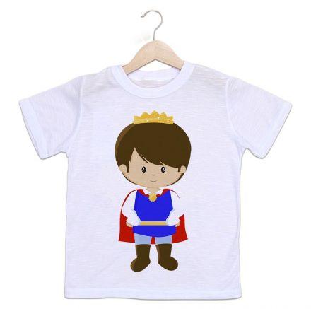 Camiseta Infantil Príncipe Coroa Dourada
