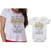 Camiseta Mãe e Filho Body Meu Primeiro Dia das Mães Com o Meu Filho