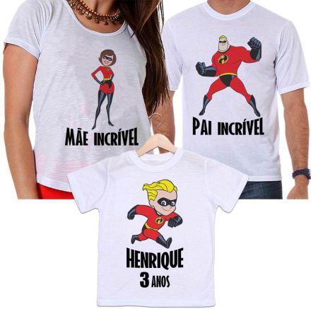 Camisetas Aniversário Personalizadas Tal Pai, Tal Mãe e Tal Filho Os Incríveis