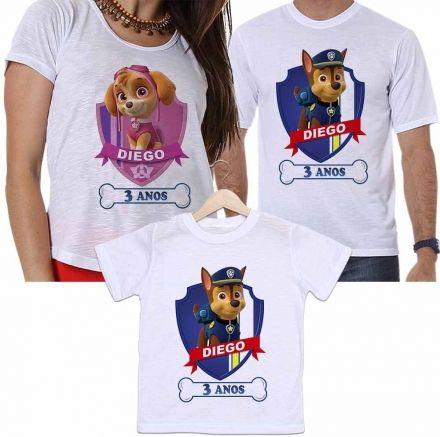 Camisetas Aniversário Tal Pai, Tal Mãe e Tal Filho Patrulha Canina Personalizadas