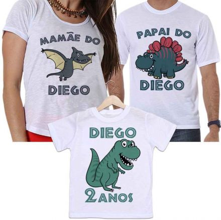Camisetas Aniversário Tal Pai, Tal Mãe e Tal Filho Personalizada Dinossauros