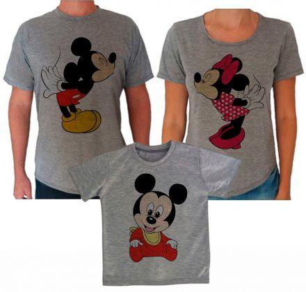 Camisetas Cinza Aniversário Mickey e Minnie CA0612