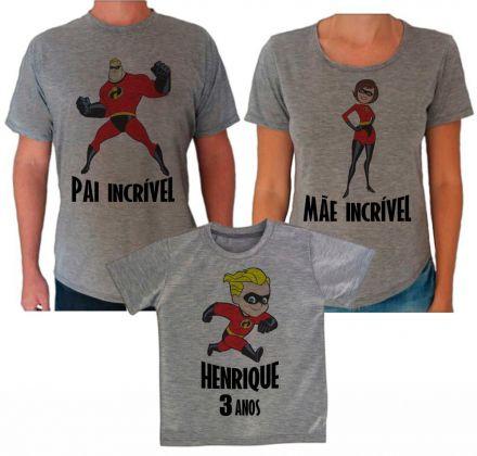 Camisetas Cinza Aniversário Os Incriveis CA0613