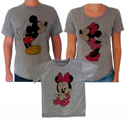 Camisetas Cinza Família Mickey e Minnie CA0617