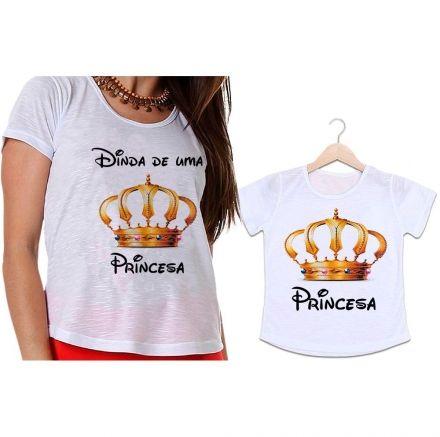 Camisetas Dinda e Afilhada Coroa Dourada