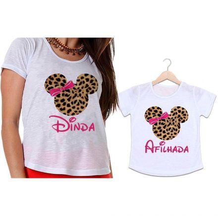 Camisetas Dinda e Afilhada Minnie Onça Laço Rosa