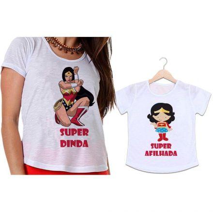 Camisetas Dinda e Afilhada Mulher Maravilha