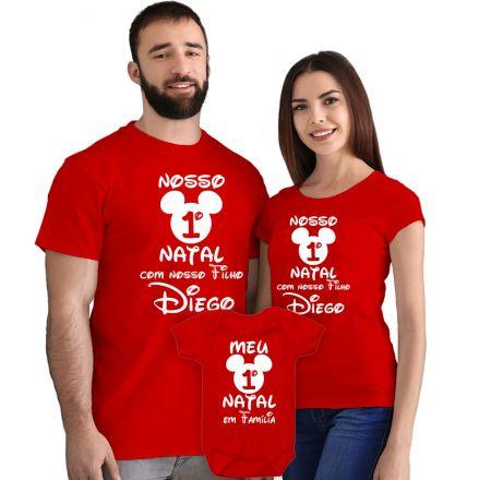 Camisetas e Body Meu Primeiro Natal Vermelho 100% Algodão FN0002