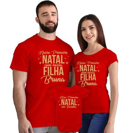 Camisetas e Body Meu Primeiro Natal Vermelho 100% Algodão FN0003