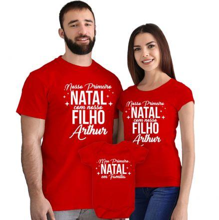 Camisetas e Body Meu Primeiro Natal Vermelho 100% Algodão FN0005