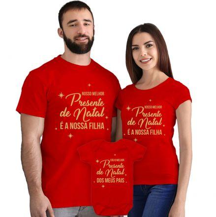 Camisetas e Body Meu Primeiro Natal Vermelho 100% Algodão FN0007
