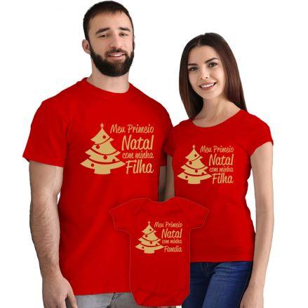Camisetas e Body Meu Primeiro Natal Vermelho 100% Algodão FN0014