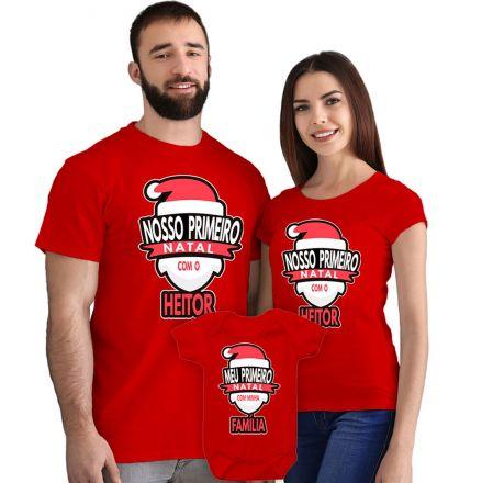 Camisetas e Body Meu Primeiro Natal Vermelho 100% Algodão FN0016