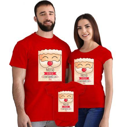 Camisetas e Body Meu Primeiro Natal Vermelho 100% Algodão FN0020