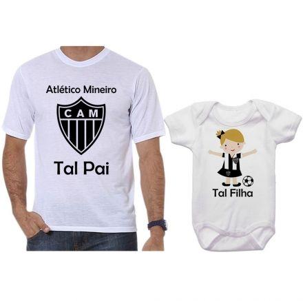 Camisetas e Body Tal Pai Tal Filha Futebol Time Atlético Mineiro