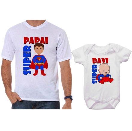 Camisetas e Body Tal Pai Tal Filho Personalizado Super Papai Super Filho