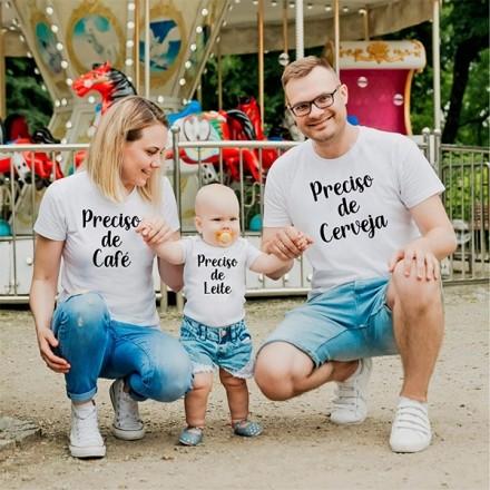 Camisetas Família Preciso de Leite