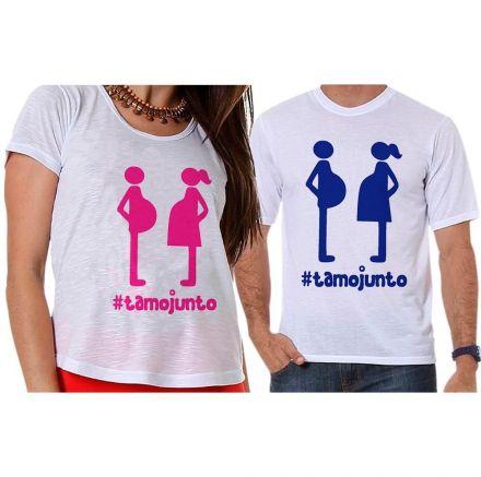 Camisetas Gestante Casal Papai e Mamãe Grávidos #tamojunto