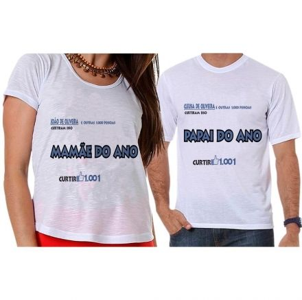 Camisetas Gestante Facebook Papai e Mamãe do Ano
