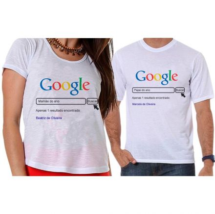 Camisetas Gestante Google Papai e Mamãe do Ano