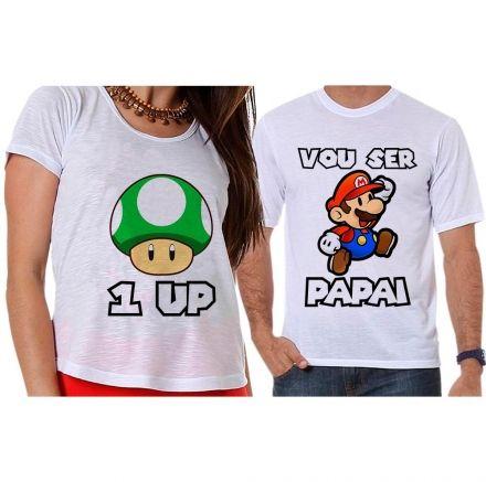 Camisetas Gestante Jogo Super Mário - Vou Ser Papai
