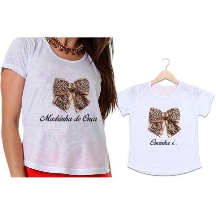 Camisetas Madrinha e Afilhada Laço de Oncinha