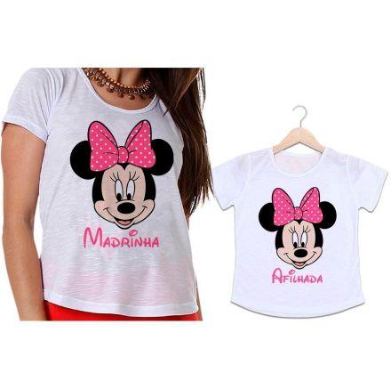 Camisetas Madrinha e Afilhada Minnie Laço Rosa