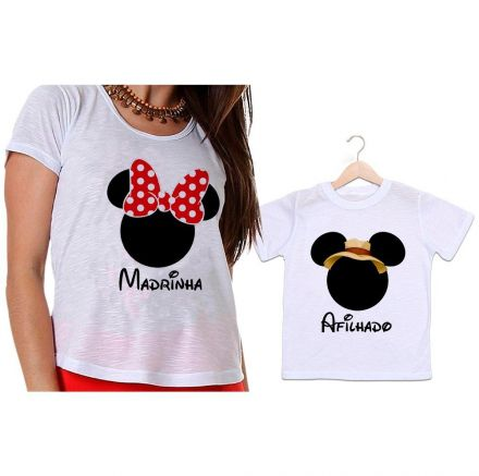 Camisetas Madrinha e Afilhado Minnie Laço Vermelho e Mickey Safari