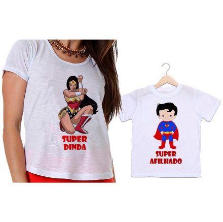 Camisetas Madrinha e Afilhado Mulher Maravilha e Super Homem