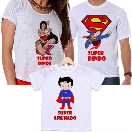 Camisetas Padrinho, Madrinha e Afilhado Super Dindos
