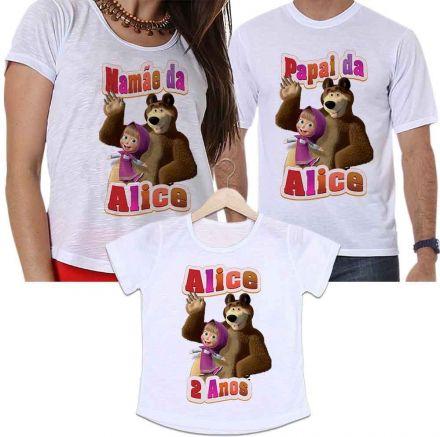 Camisetas Personalizadas Aniversário Tal Pai, Tal Mãe e Tal Filha Masha e o Urso