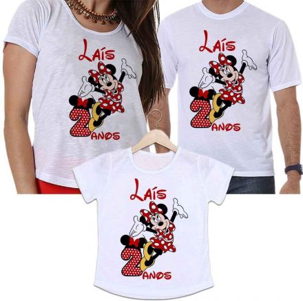 Camisetas Personalizadas Aniversário Tal Pai, Tal Mãe e Tal Filha Minnie